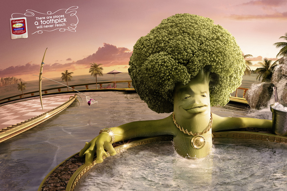 Personification: Imposing human-like characteristics on inanimate objects. In this case, Colgate shows Toothpick trying with its might to reach Broccoli, who is comfortably mockingly out of reach.