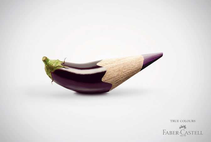 "Simile: Comparing two things or ideas, usually by saying ""like"" or ""as."" In this case, Fiber-Castell is suggesting that the colors of its pencils are as natural as the color of a purple eggplant."
