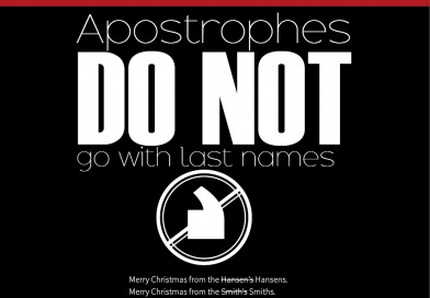 Christmas Card Announcement: Apostrophes DO NOT Go with Last Names