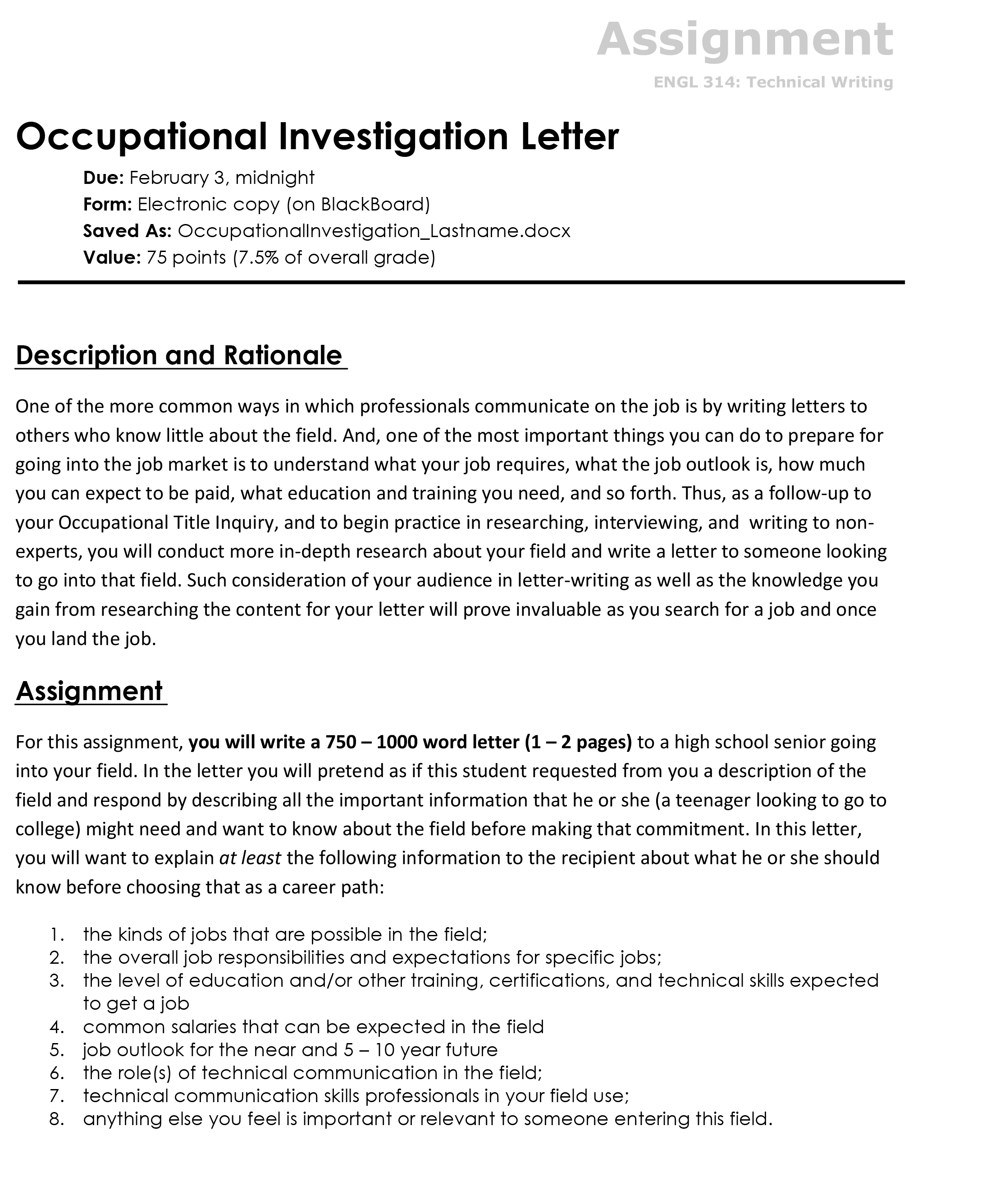 Occupational Investigation Letter  The Visual Communication Guy