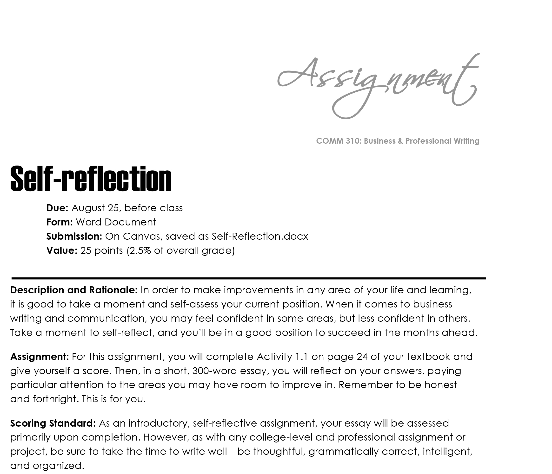 Self reflection essays