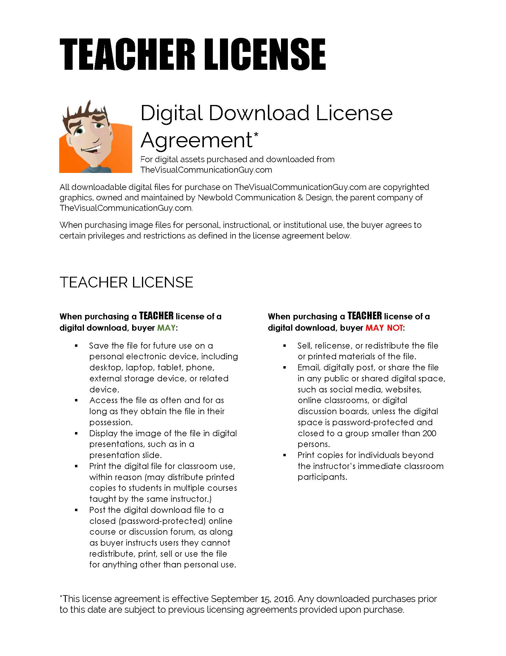 Teacher & Public Speaker License Agreement