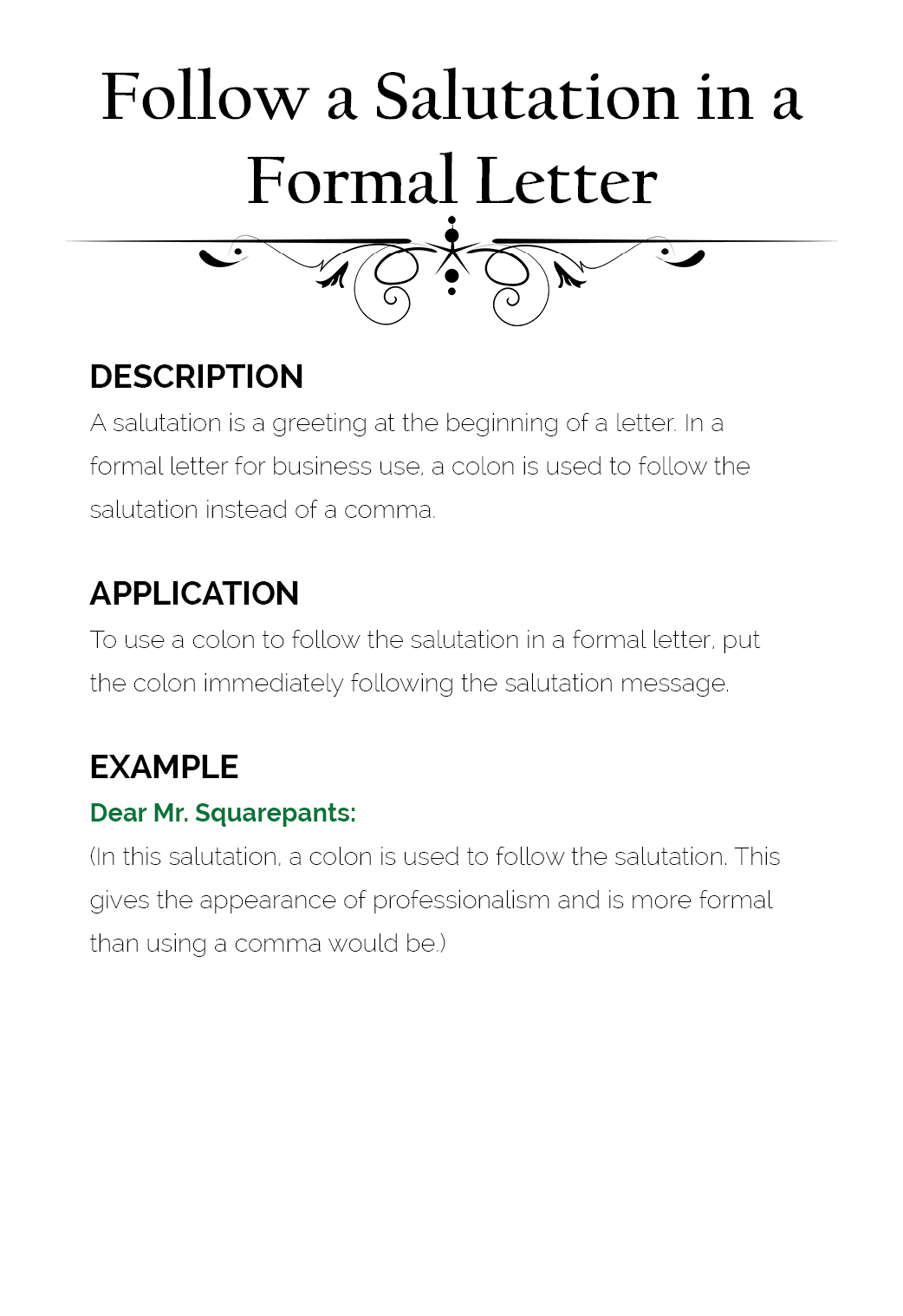 Use #3: Follow A Salutation In A Formal Letter  Salutation Punctuation