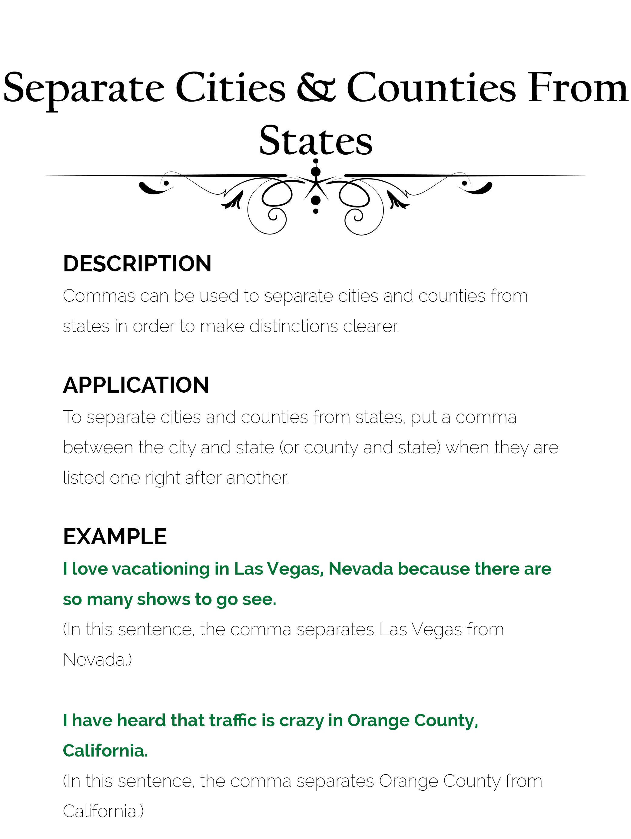 comma use 12 separates cities and countries from