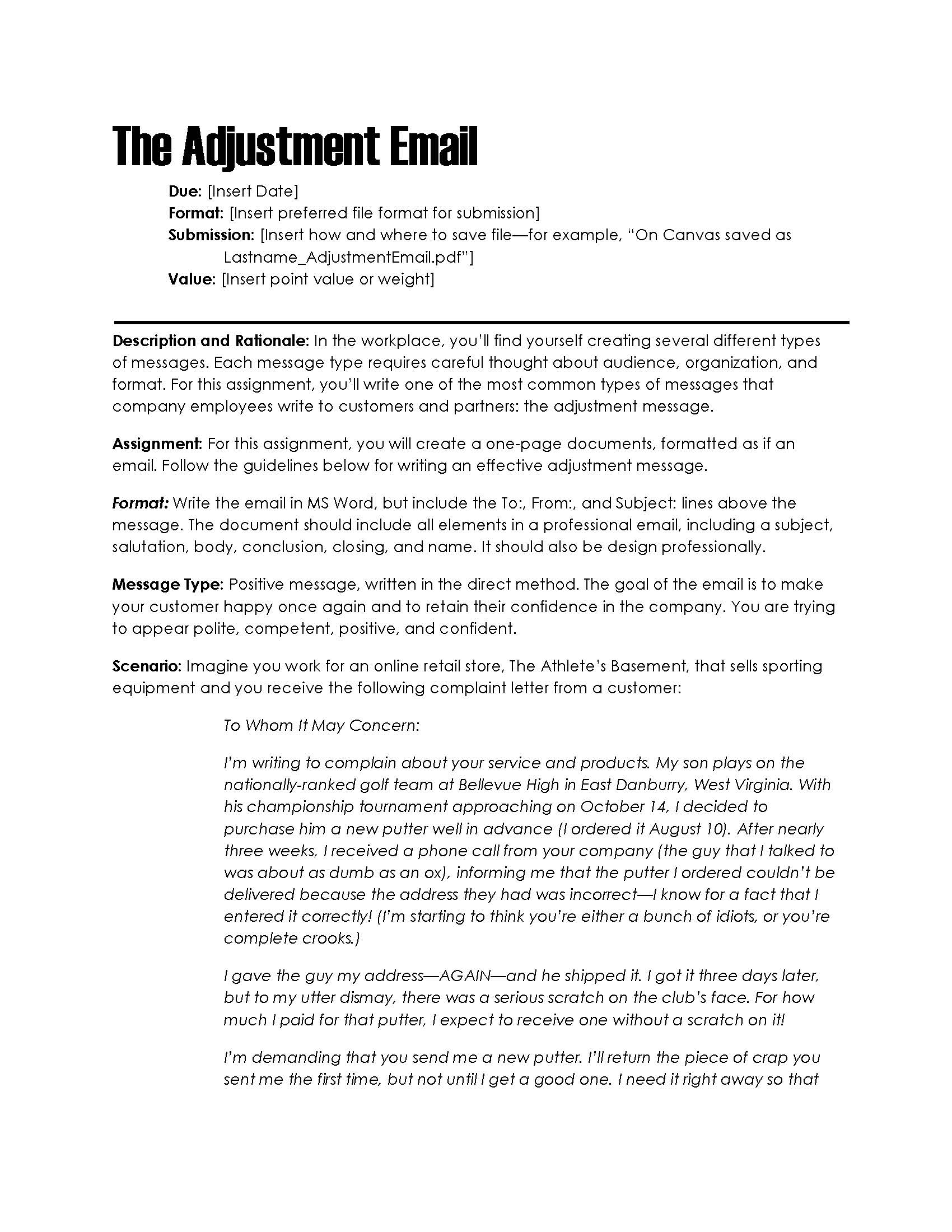 Downloads for teachers assignment descriptions the visual great for business communication courses this assignment helps students learn to write adjustment messages to alleviate upset customers and clients spiritdancerdesigns