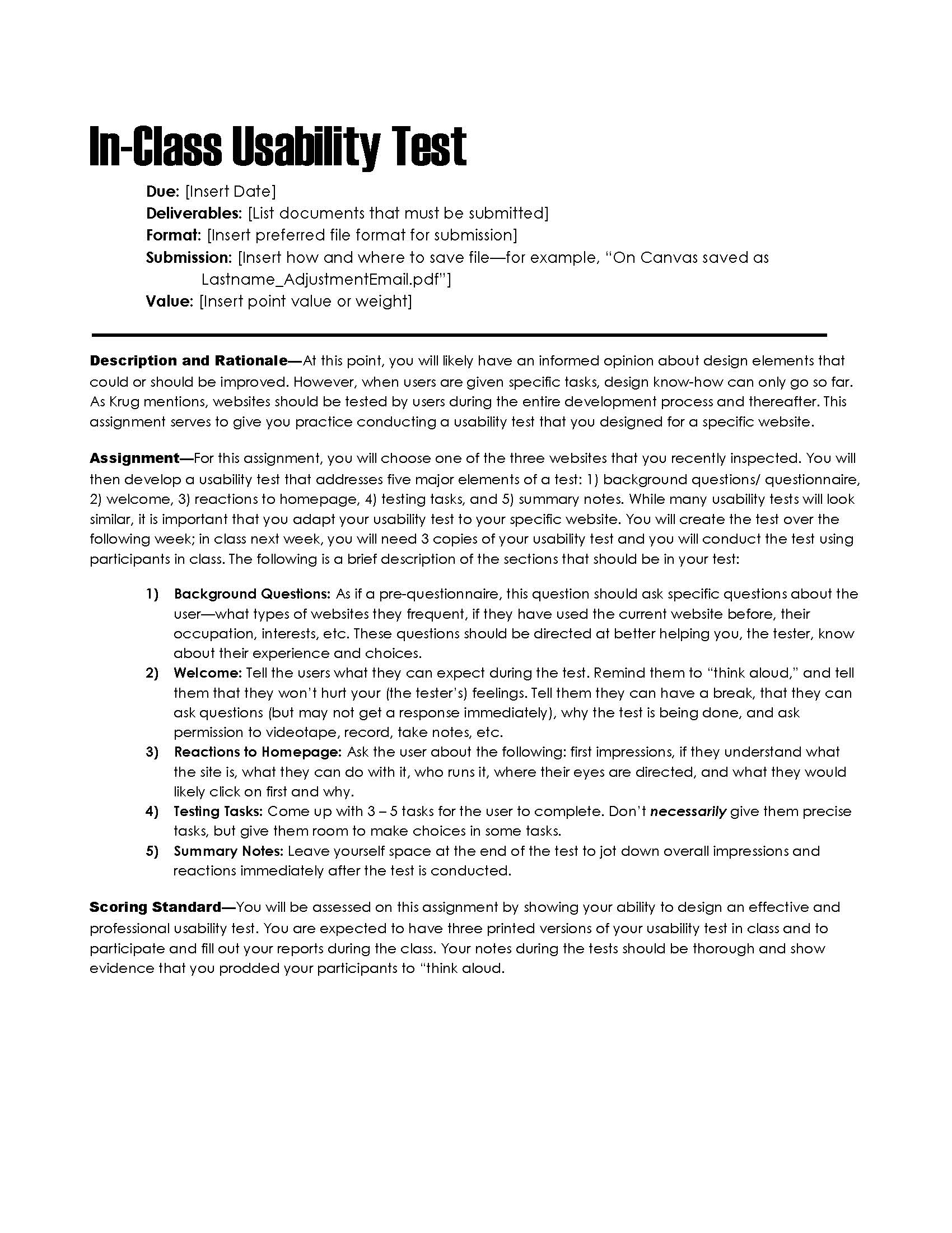 Great For Web Design Courses, This Assignment Description Helps Students To  Follow Usability Expert Steve Krugu0027s Five Step Usability Testing Model To  Test ...