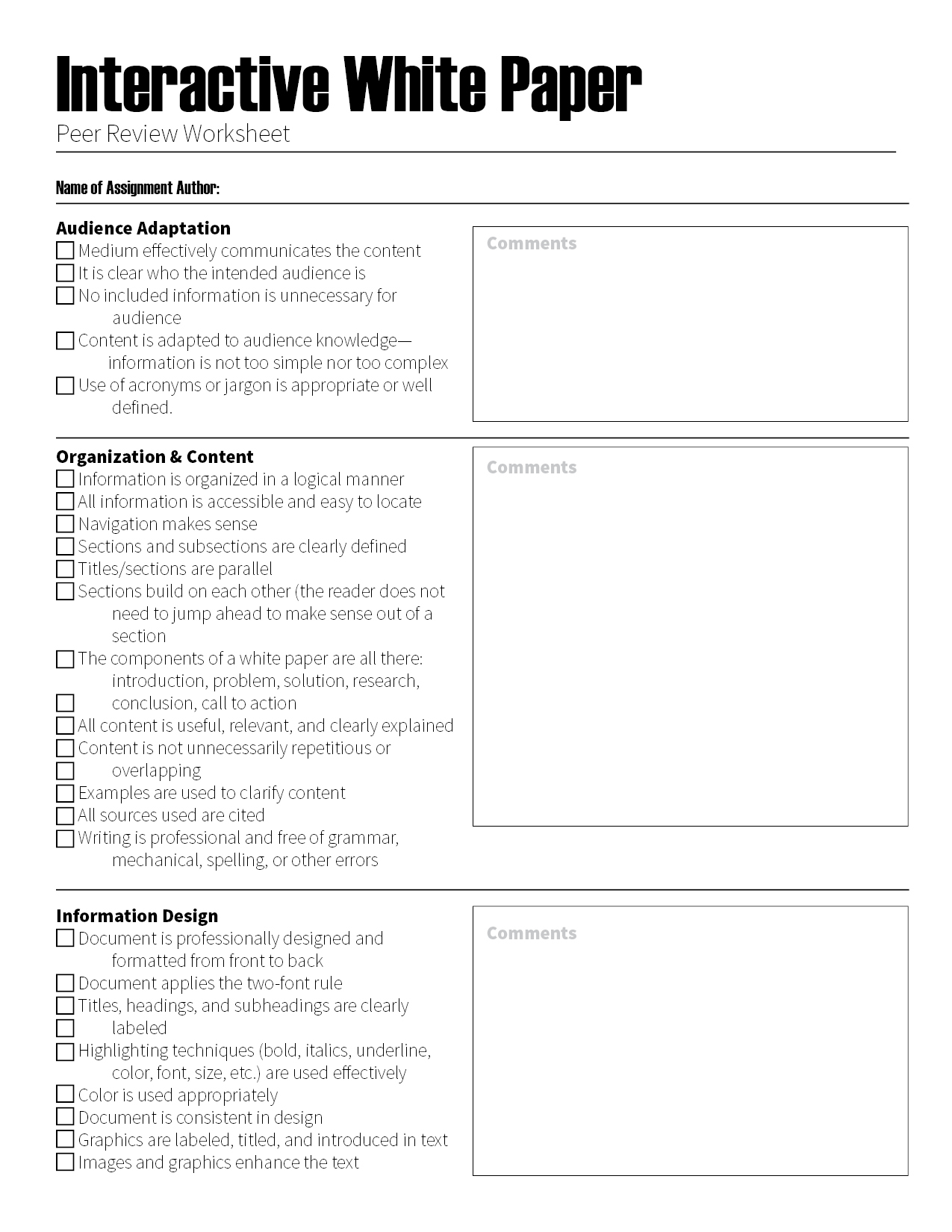peer review sheet This peer review template is intended for organizations that include 360-degree feedback in their evaluations competencies are rated using a number scale to provide a simple, quantitative look at performance.