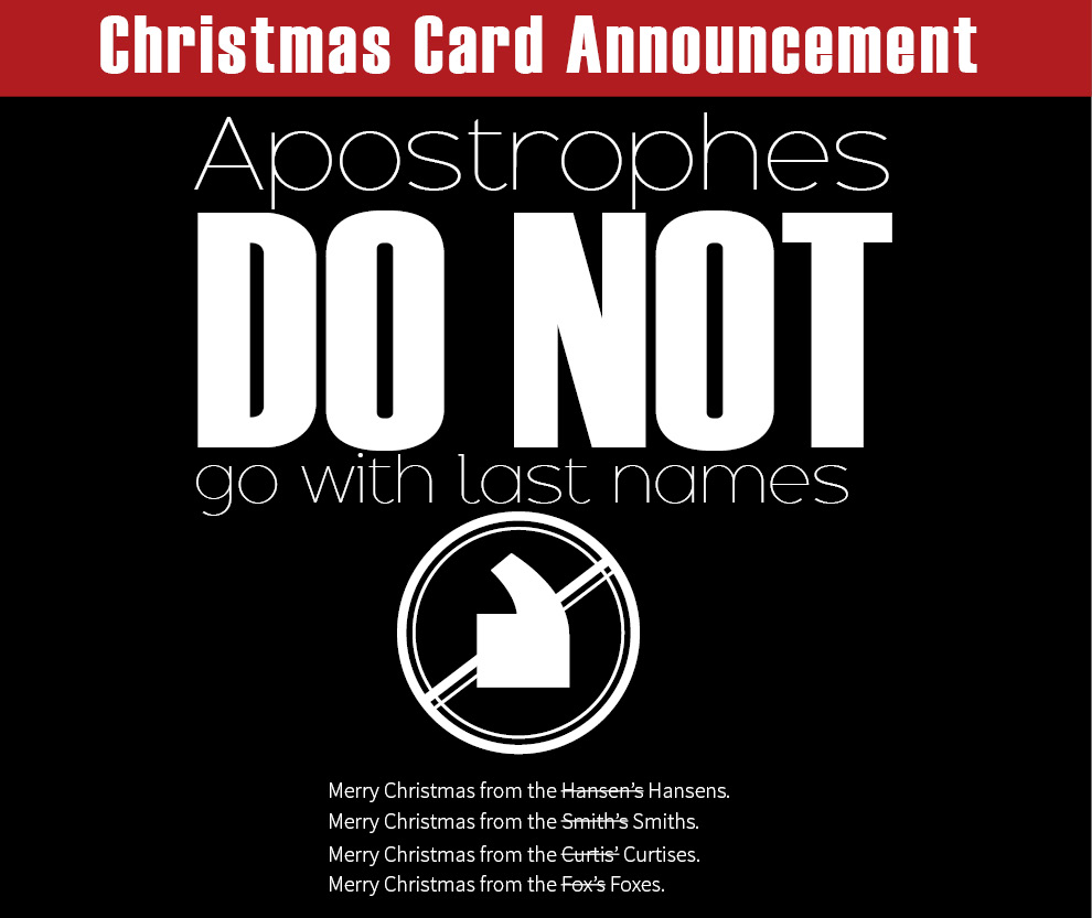 Christmas Card Announcement Apostrophes Do Not Go With Last Names