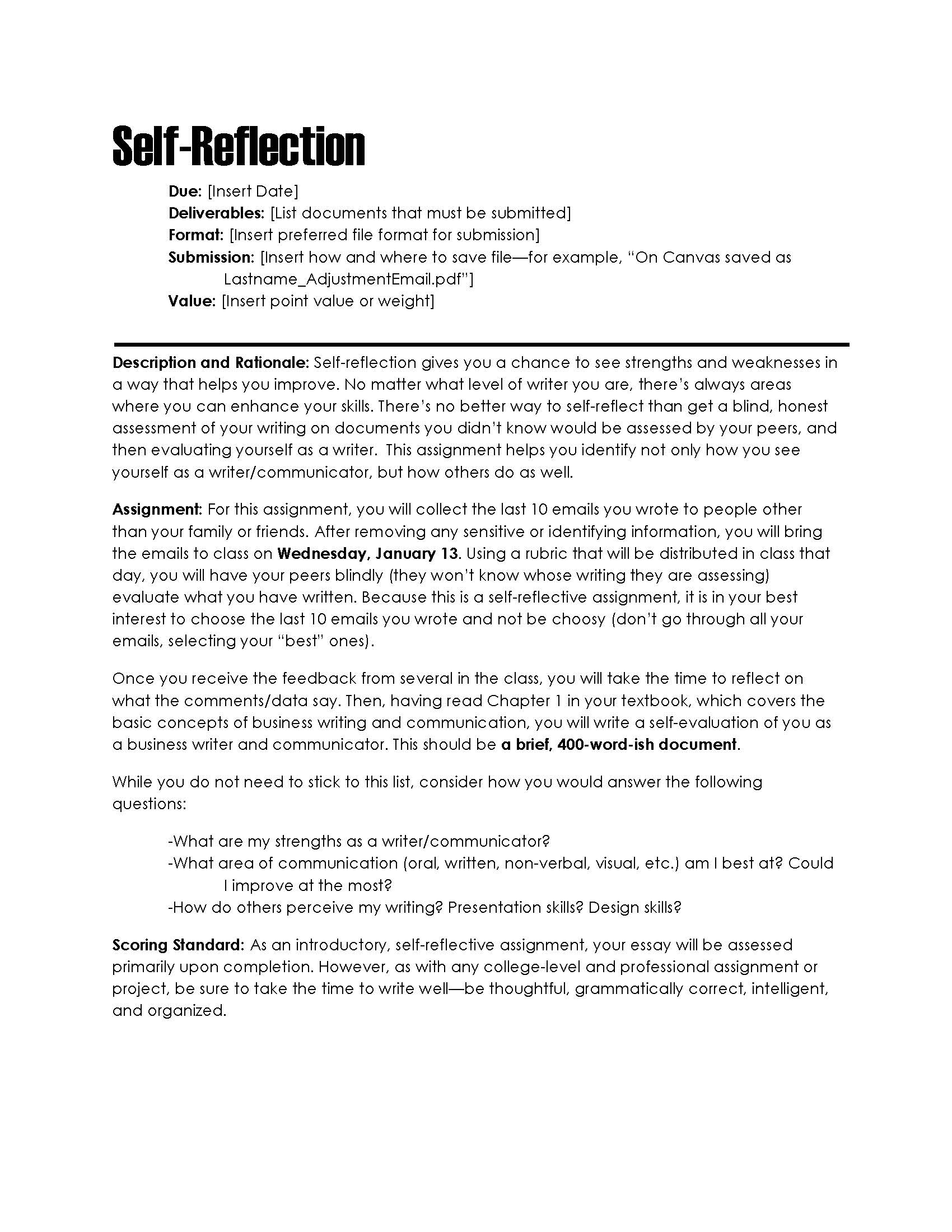 Personal reflection paper example