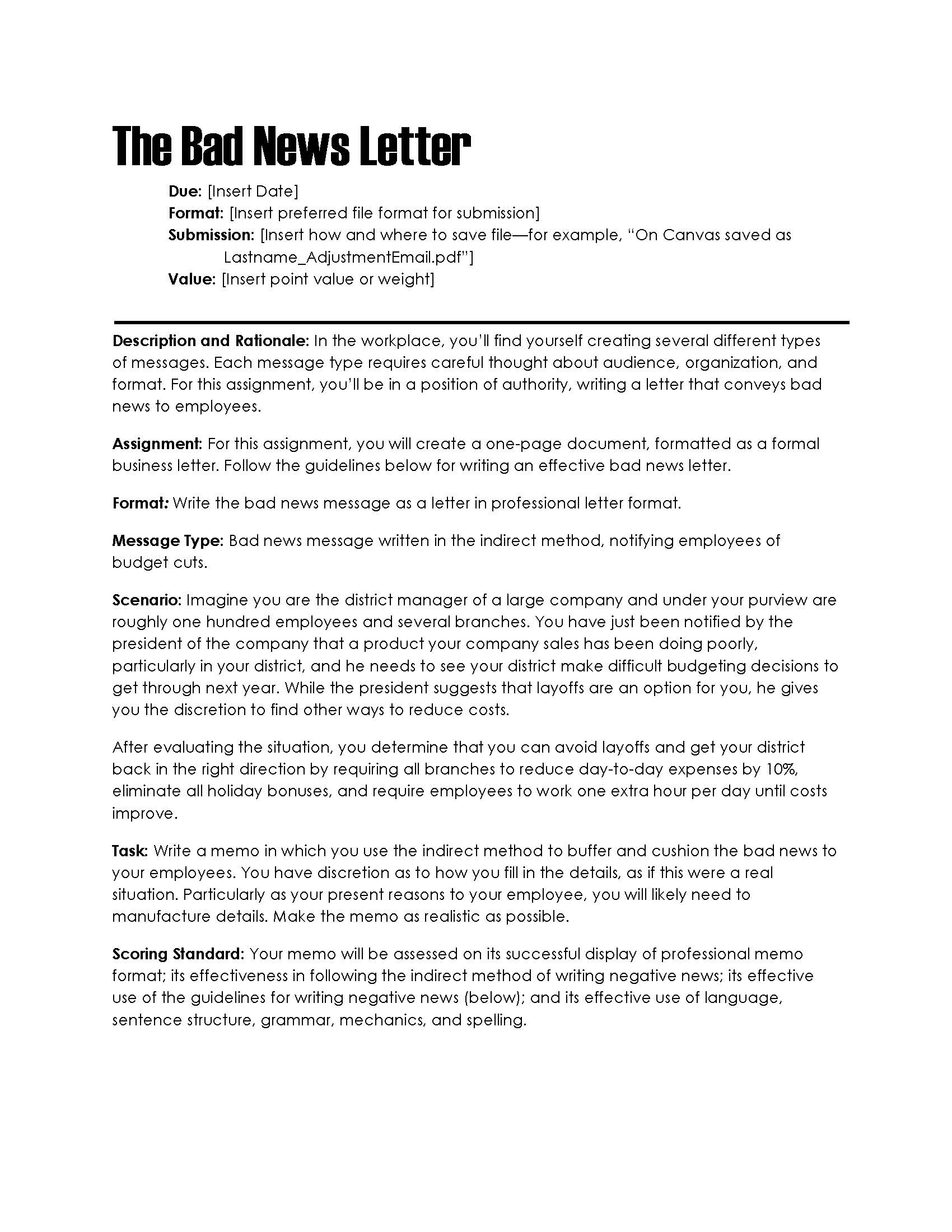 bad news letter to employees